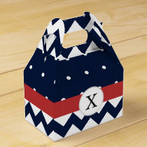 Personalized Navy and white nautical pattern Favor Box