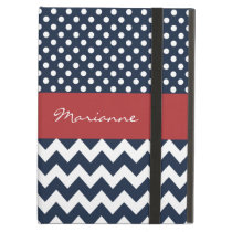 Personalized Navy and white nautical pattern iPad Air Cover