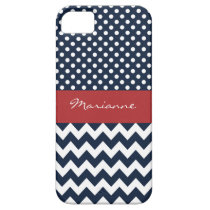 Personalized Navy and white nautical pattern iPhone SE/5/5s Case