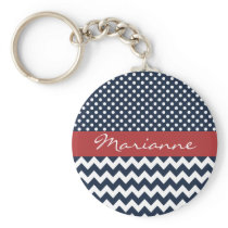 Personalized Navy and white nautical pattern Keychain