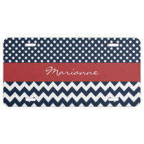 Personalized Navy and white nautical pattern License Plate