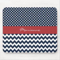 Personalized Navy and white nautical pattern Mouse Pad