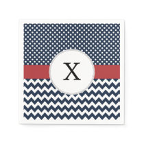 Personalized Navy and white nautical pattern Paper Napkin