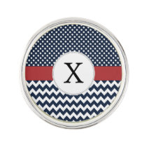 Personalized Navy and white nautical pattern Pin
