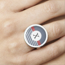 Personalized Navy and white nautical pattern Ring
