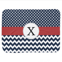 Personalized Navy and white nautical pattern Stroller Blanket