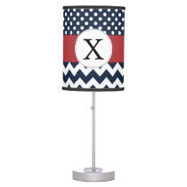 Personalized Navy and white nautical pattern Table Lamp