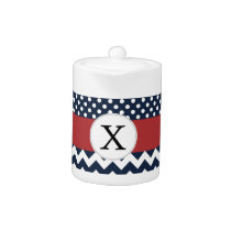 Personalized Navy and white nautical pattern Teapot