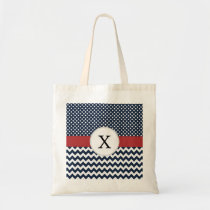 Personalized Navy and white nautical pattern Tote Bag