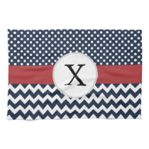 Personalized Navy and white nautical pattern Towel