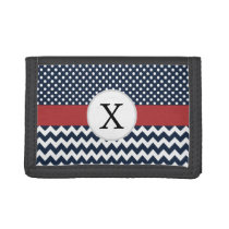 Personalized Navy and white nautical pattern Trifold Wallets