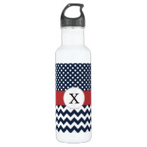 Personalized Navy and white nautical pattern Water Bottle