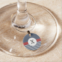 Personalized Navy and white nautical pattern Wine Charm
