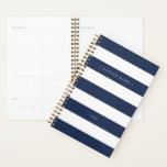 "Personalized Navy and White Stripe Planner<br><div class=""desc"">Chic personalized planner features wide navy blue and white stripes with your name or monogram in elegant white lettering. Personalize with the year along the bottom.</div>"