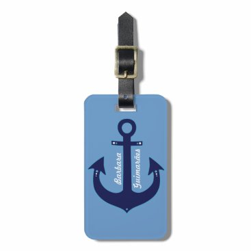 personalized navy blue anchor bag tag