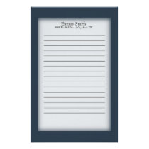 Personalized Navy Blue and White Stationery