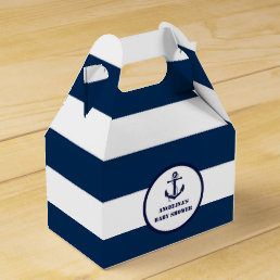 Personalized Navy Blue Boy Nautical Baby Shower Favor Box