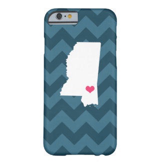 Personalized Navy Blue Chevron Mississippi Heart Barely There iPhone 6 Case