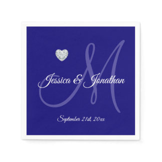 Personalized NAVY BLUE Heart Monogrammed Wedding Paper Napkin
