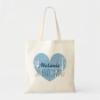Personalized navy blue junior bridesmaid tote bag