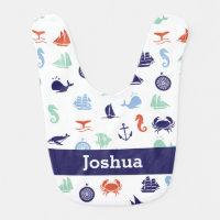 Personalized Navy Blue Maritime Nautical Bib