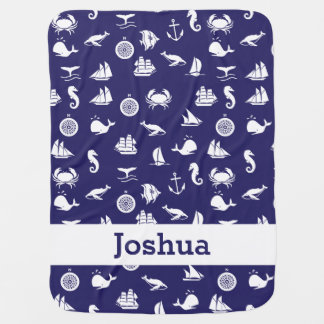 Personalized Navy Blue Maritime Nautical Blanket