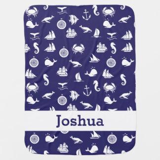 Personalized Navy Blue Maritime Nautical Blanket