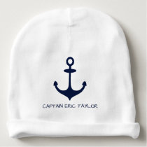 Personalized Navy Blue Nautical Anchor and Rudder Baby Beanie