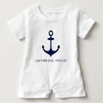 Personalized Navy Blue Nautical Anchor Baby Romper