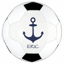 Personalized Navy Blue Nautical Anchor Soccer Ball