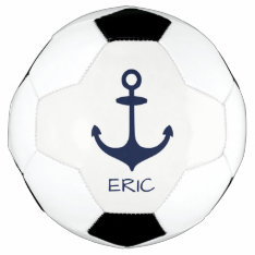 Personalized Navy Blue Nautical Anchor Soccer Ball at Zazzle