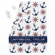 Personalized Navy Blue Nautical Anchor Swaddle Blanket