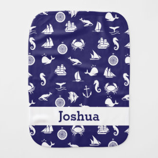 Personalized Navy Blue Nautical Burp Cloth