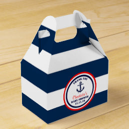 Personalized Navy Blue Red Nautical Baby Shower Favor Box