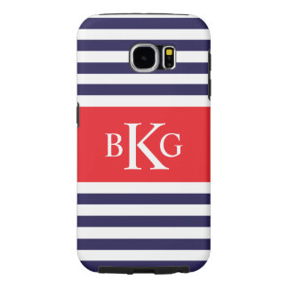 Personalized Navy Blue Red Stripes Samsung Galaxy S6 Case