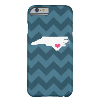 Personalized Navy Chevron North Carolina Heart Barely There iPhone 6 Case