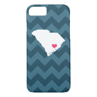 Personalized Navy Chevron South Carolina Heart iPhone 8/7 Case