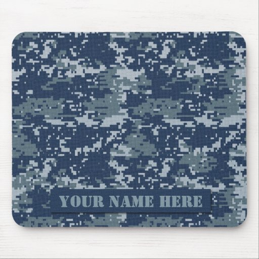 Personalized Navy Digital Camouflage Mousepad