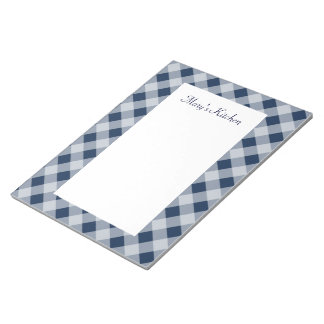 Personalized Navy Gingham Notepad