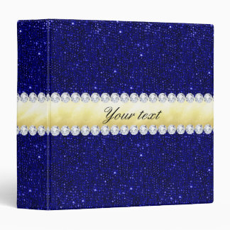 Personalized Navy Sequins, Gold, Diamonds Binder