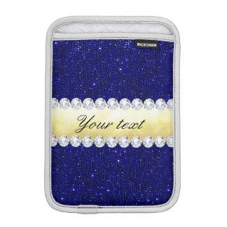 Personalized Navy Sequins, Gold, Diamonds iPad Mini Sleeve