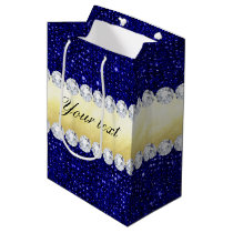 Personalized Navy Sequins, Gold, Diamonds Medium Gift Bag