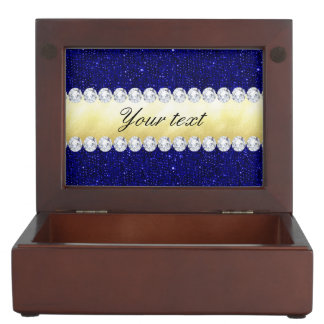 Personalized Navy Sequins, Gold, Diamonds Memory Box