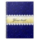 Personalized Navy Sequins, Gold, Diamonds Notebook