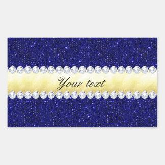 Personalized Navy Sequins, Gold, Diamonds Rectangular Sticker