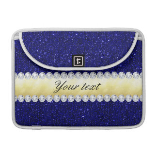 Personalized Navy Sequins, Gold, Diamonds Sleeve For MacBook Pro