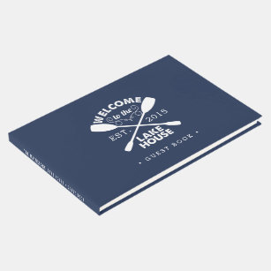 Personalized Navy & White Lake House Guest Book