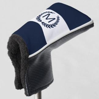 Personalized Navy & White Laurel Wreath Monogram Golf Head Cover