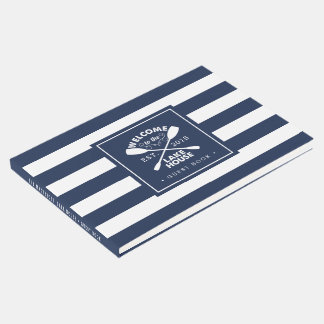 Personalized Navy & White Stripe Lake House Guest Book