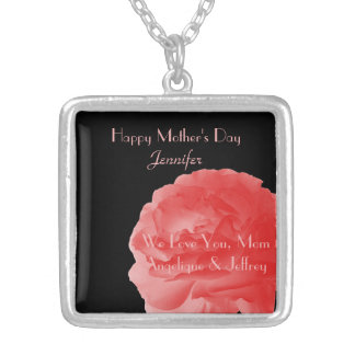 Personalized Necklace Coral Rose Mother's Day